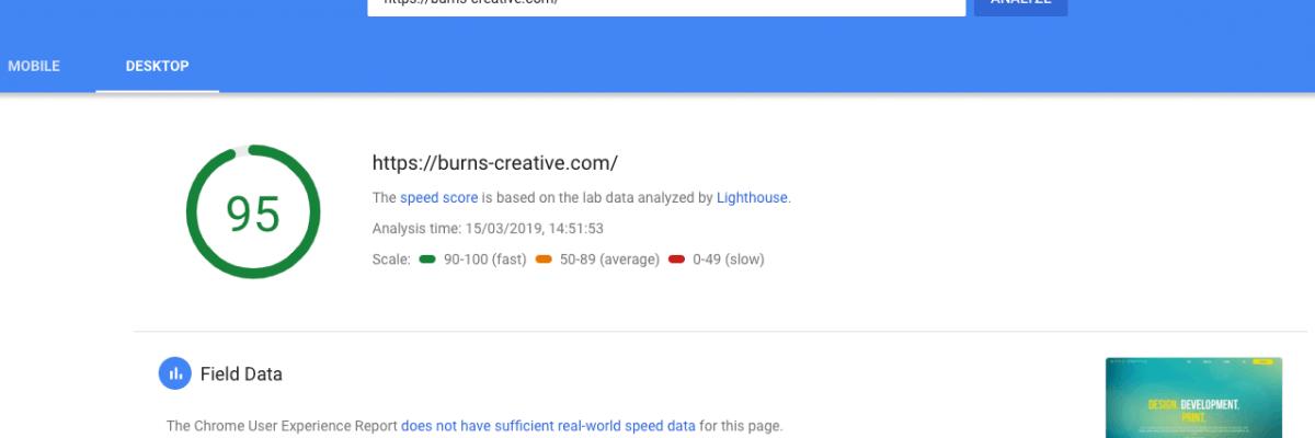 Burns Creative has a Lightning Fast Website Design