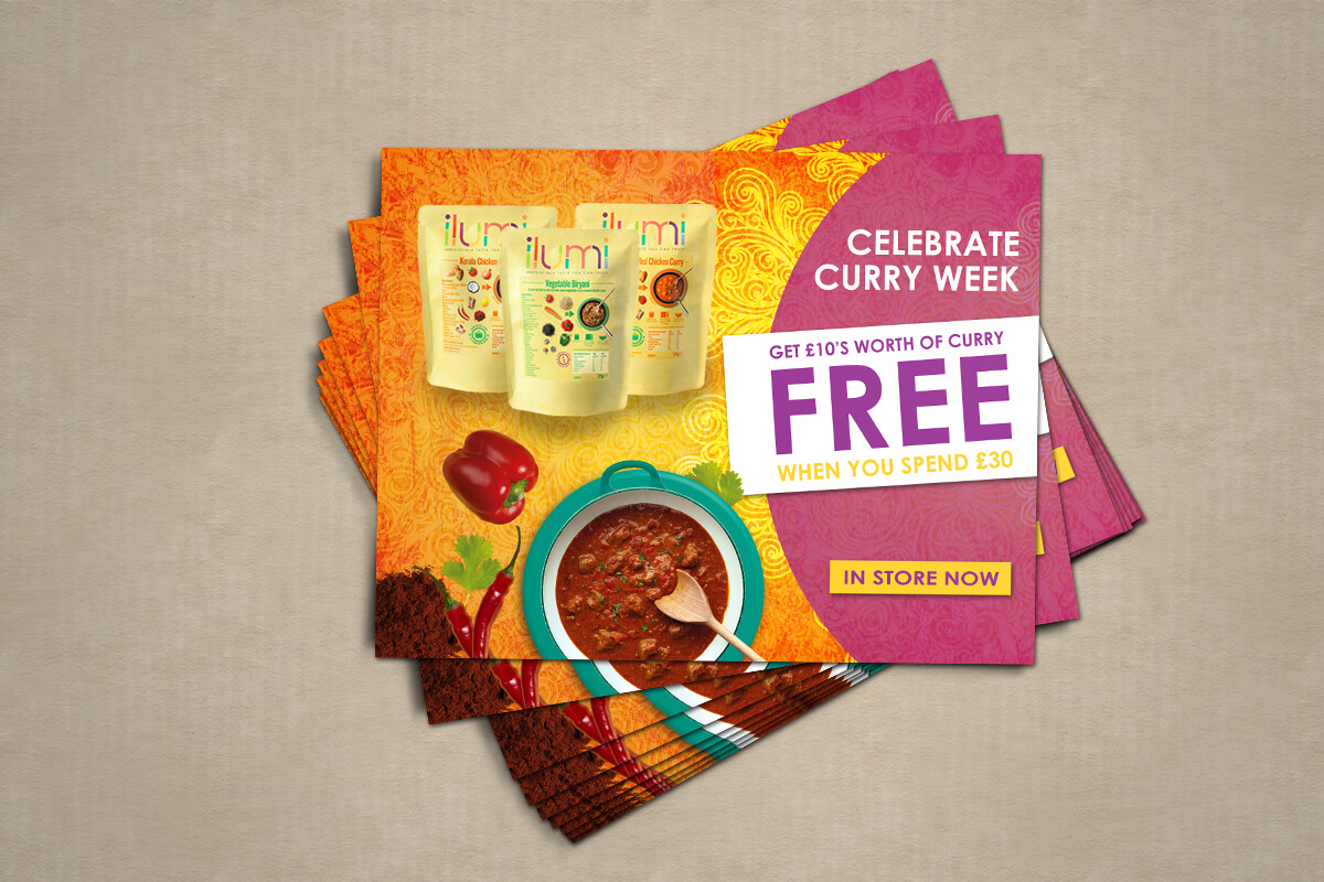 Flyer Design with Curry Week Them for ilumi foods.