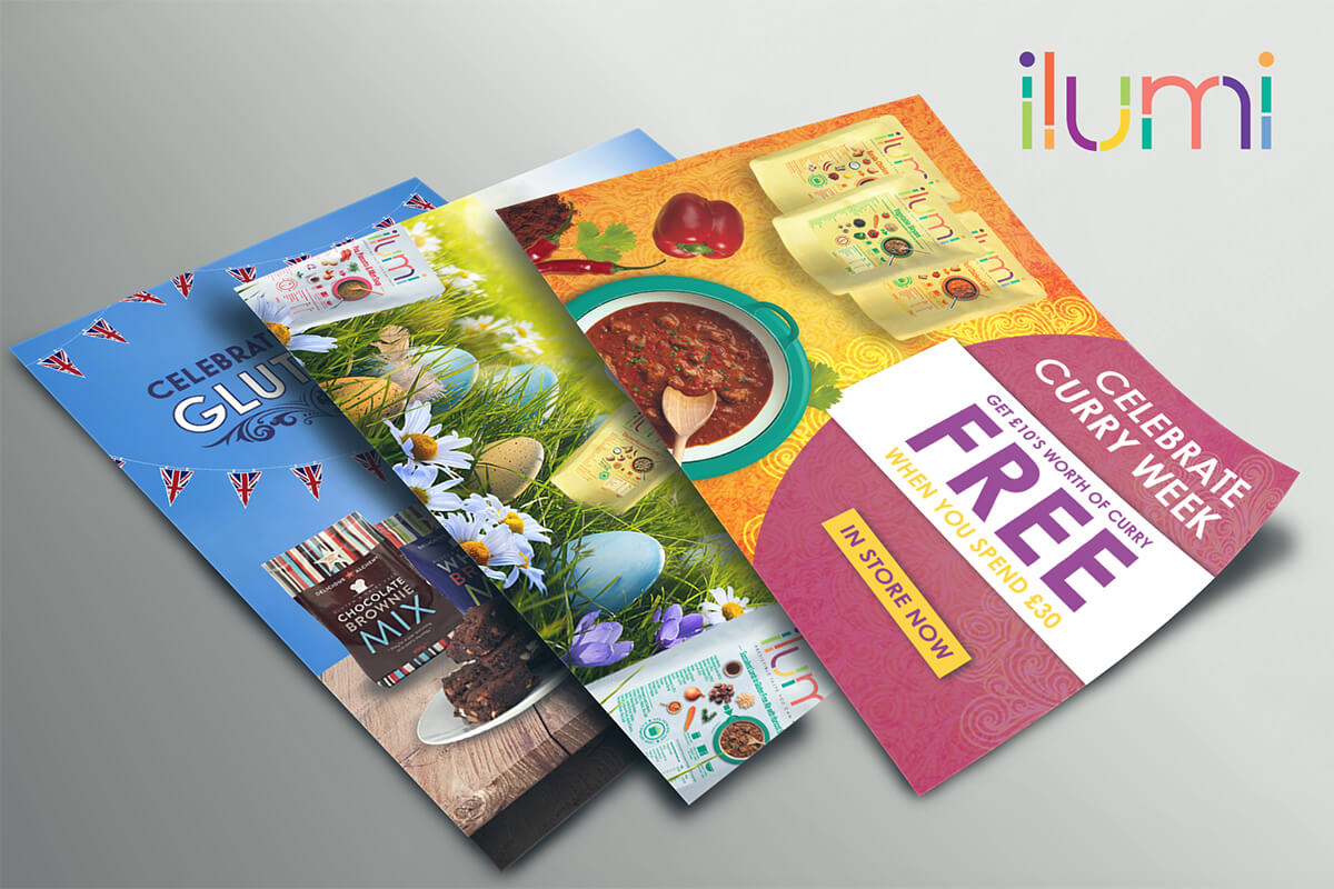 Flyer Designs with Great British Bake Off Theme for ilumi foods.